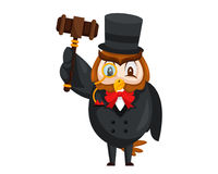 Cute Auction Animal Cartoon Character Illustration - Owl. Animal holding a hammer cartoon representing auction, justice, bank, loan, and other finance related Stock Photos