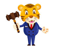 Cute Auction Animal Cartoon Character Illustration - Tiger. Animal holding a hammer cartoon representing auction, justice, bank, loan, and other finance related Stock Photography
