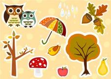 Cute autmn stickers Royalty Free Stock Photo