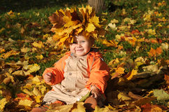 Cute Autumn Baby Royalty Free Stock Photography