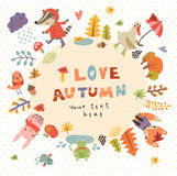 Cute autumn background with the characters Stock Images