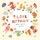 Cute autumn background with the characters Stock Image