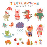 Cute autumn background with the characters Royalty Free Stock Photography