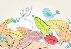 Cute autumn bird illustration Stock Images