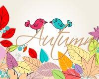 Cute autumn birds illustration Royalty Free Stock Photos