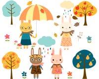 Cute Autumn Cartoon Bunnies Royalty Free Stock Image