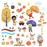 Cute autumn children and animals design set. This is a large collection of design elements containing children, animals, trees and much more elements inspired by stock illustration