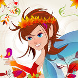 Cute autumn fairy Stock Photos