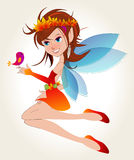 Cute autumn fairy with bird Stock Photo