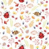 Cute autumn forest seamless pattern. Cute autumn seamless pattern. Cartoon bugs, plants, herbs, flowers. Vector illustration on white background. Childish Stock Photos