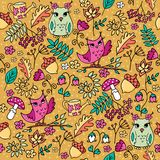 Cute autumn forest seamless pattern with owls. Cute autumn seamless pattern with owls. Forest pattern with rowan and flowers on mustard background vector illustration