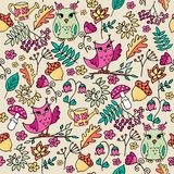 Cute autumn fowest seamless pattern with owls. Cute autumn seamless pattern with owls. Forest pattern with rowan and flowers on beige background royalty free illustration