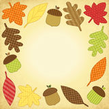 Cute autumn frame with leaves as retro fabric applique Stock Photography