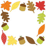 Cute autumn frame with leaves as retro fabric applique Royalty Free Stock Photo