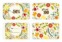 Cute autumn gift tags bundle with hand drawn rustic flowers and leaves ornament. For your decoration Stock Photography