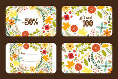 Cute autumn gift tags bundle with hand drawn rustic flowers and leaves ornament Stock Photo