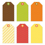 Cute autumn gift tags bundle in traditional colors Royalty Free Stock Image