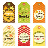 Cute autumn gift tags bundle in traditional colors Stock Photos