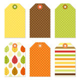 Cute autumn gift tags bundle in traditional colors Royalty Free Stock Photo