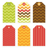 Cute autumn gift tags bundle in traditional colors Stock Image