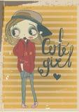 Cute autumn girl with frame. Cute cartoon autumn girl with frame stock illustration