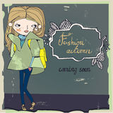 Cute autumn girl with frame Royalty Free Stock Image