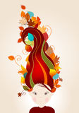 Cute autumn girl and leaves illustration Royalty Free Stock Photo
