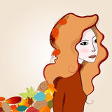 Cute autumn girl and leaves illustration Royalty Free Stock Photography