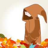 Cute autumn girl and leaves illustration Royalty Free Stock Images