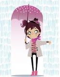 Cute autumn girl with umbrella. Cute cartoon autumn girl with umbrella Royalty Free Stock Photography