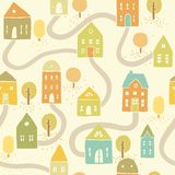 Cute autumn houses seamless pattern Stock Images