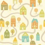 Cute autumn houses seamless pattern. Vector EPS10 hand drawn autumn houses seamless pattern stock illustration
