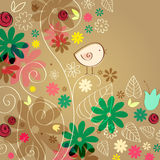 Cute autumn leaves and bird illustration Stock Image