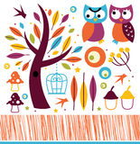 Cute autumn owls and design elements Royalty Free Stock Photos