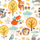 Cute autumn rainy pattern. Autumn seamless pattern with cute woodland animals, trees, rainy clouds, mushrooms and leaves Royalty Free Stock Image