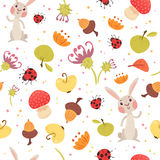 Cute autumn seamless pattern. Cartoon rabbit, bugs, mushrooms, fruits and flowers. Vector illustration on white background. Childish ornament for wrapping Stock Photos