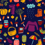 Cute autumn seamless pattern on dark blue background Royalty Free Stock Photography