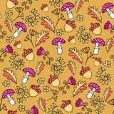 Cute autumn seamless pattern with fly-agaric mushroom, leaves and acorn. Part of autumn owl set vector illustration