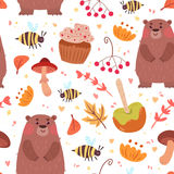 Cute autumn seamless pattern with food and bear. Cute autumn seamless pattern. Cartoon bear, sweets, bugs, plants. Vector illustration on white background Royalty Free Stock Photos