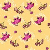 Cute autumn seamless pattern with owls and rowan. Forest pattern on yellow background vector illustration