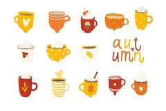 Cute autumn set with illustrations of mugs royalty free illustration