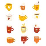 Cute autumn set with illustrations of mugs vector illustration