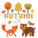 Cute autumn set with woodland creatures birds and Royalty Free Stock Photos