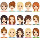 Cute Avatar Girls. Set of cute girls with different hairstyles and hair color illustration face avatar collection vector illustration
