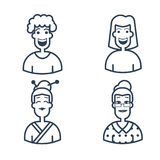 Cute avatars. Characters of different ages. line style icons isolated. Stroke logo concept for web graphics. Stock Image