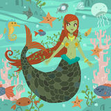 Cute awesome mermaid princess pattern. The vector pattern with cute young mermaid and ocean stuff for games presentations, ui tablets, smart phones Royalty Free Stock Image