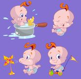 Cute Babies. An illustration of cute babies in different activities Royalty Free Stock Photo