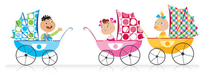 Cute Babies in baby strollers. Three babies in the baby strollers royalty free illustration