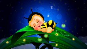 Cute babies bee cartoon sleep on leaves and beautiful fireflies in the night at the full sky, loop video background to put a baby
