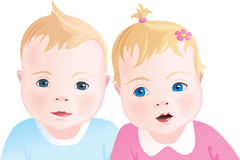Cute babies - boy and girl Stock Images